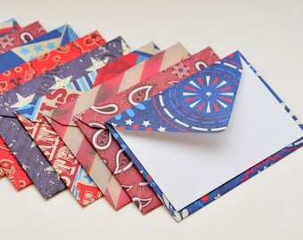 SALE-Americana Mini Cards, Set of 10, Enclosure Cards, Blank Cards, July 4th, Gift Card, Favor Card, Party Decor