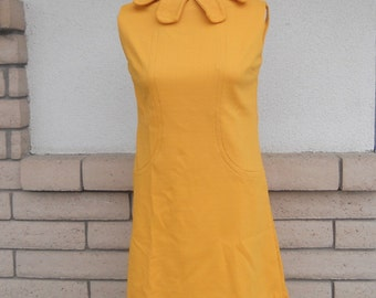 Vintage 60's Mod Mustard Shift Dress Sleeveless Size Small