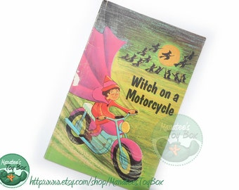 Witch on a Motorcycle Vintage 1970s Kids Book