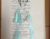 Custom order for Natalie Original art Parisian Croissant Collection  tiffany blue vintage fashion illustration on 1940 poetry book page
