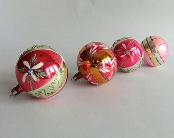 4 Vintage Glass Christmas Tree Ornaments - Made in  Poland, Pink, Red, Silver, Hand Painted, Holiday, Balls, Mica Glitter, Mid Century