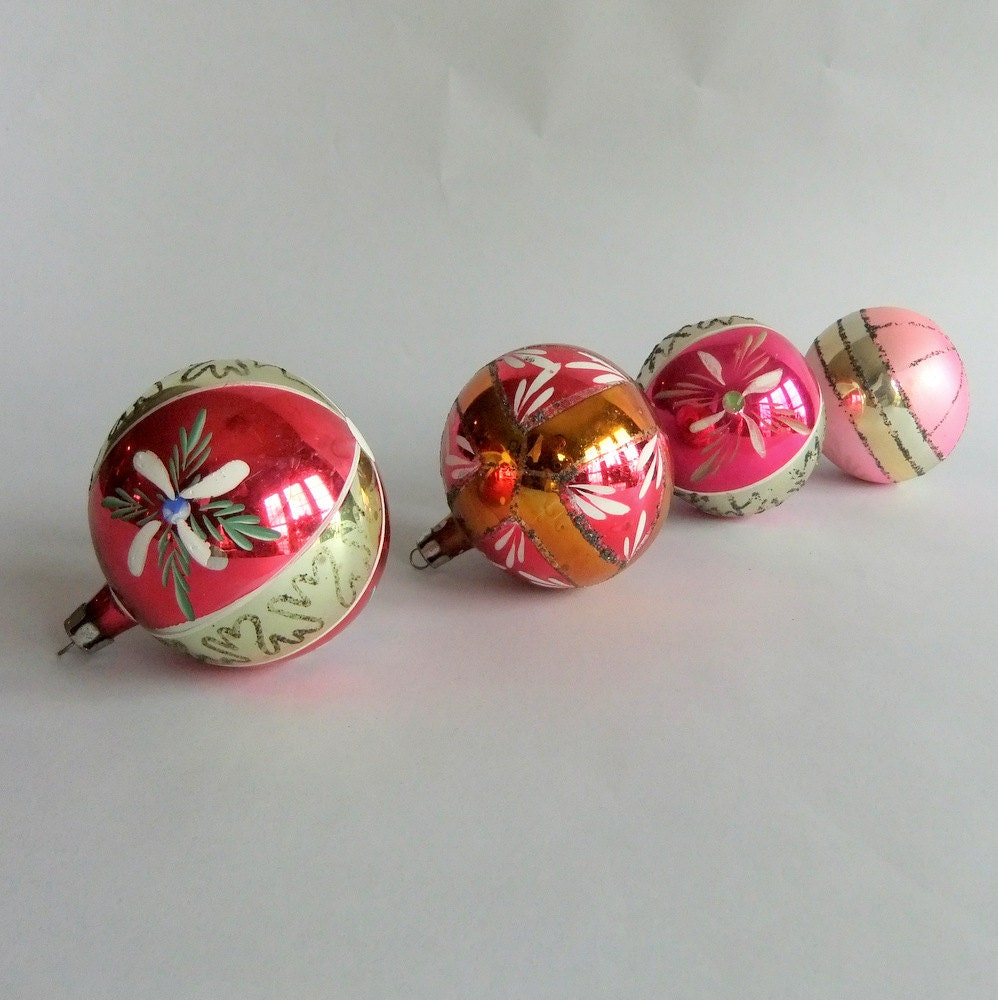4 Vintage Glass Christmas Tree Ornaments Made in Poland