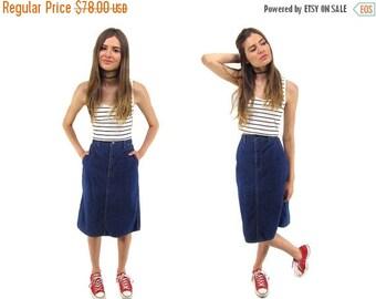 On Sale - Vintage 80s Calvin Klein Denim Skirt, Jean Skirt, Knee Length Skirt, Pencil Denim Skirt, High-Waist Denim Skirt Δ size: sm / md