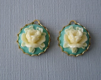 Rose Flower Turquoise Ivory Cabochon in  Brass Setting Charm Pendant 18mm.