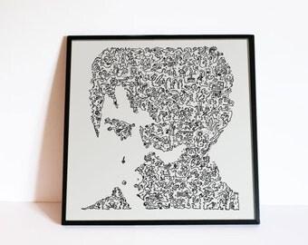 Jet Li - the Wushu Dragon master - intricate doodles portrait - Movie Wall Art Poster - Ltd Edition of 100
