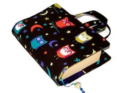Handmade Book Cover, Bible Cover, with handles or without, Night Owls Fabric, UK Seller