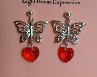 Butterfly Swarovski Hearts Post Earrings
