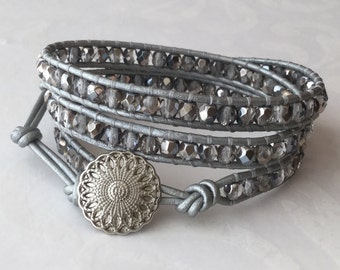 Metallic Grey Leather Wrap Bracelet Boho Chic Triple Wrap Silver
