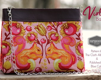 Violet Bag in Squirrels from the Birds and the Bees by Tula Pink in sunrise, chain strap, pouch, purse, clutch
