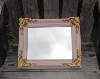Gilded Regency Petite Wood Framed Mirror - Shabby Chic - Ornate Parisian Wall Mirror Distressed in Pink