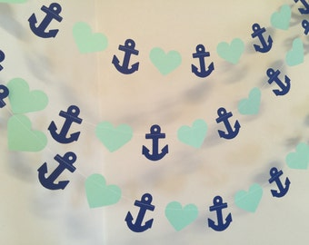 Anchor banner / 10ft Anchors and Heart Garland / Nautical Bridal Shower Decor / nautical Baby Shower decor your color choice