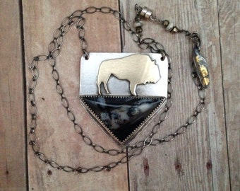 Roaming buffalo sterling and brass necklace