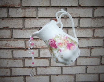 Porcelain Fancy Shabby  Rose Teapot Outdoor/wind chimes/outdoor Garden/Porch/room/Pink Roses/Garden decoration/Accent/Romance