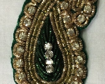 Paisley  hand embroidered applique in green with faux Swarovski crystals