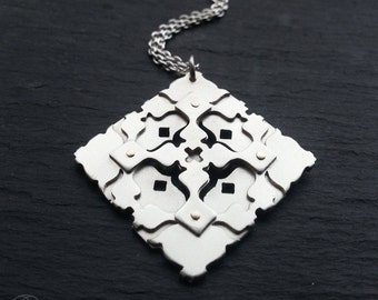 Geometric Pendant - Sterling silver and 9ct gold Handcrafted Geometric Jewellery