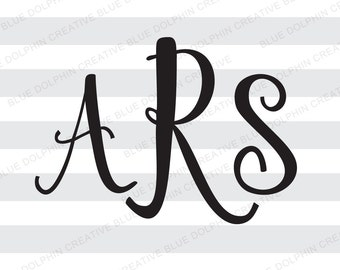 Fancy script font monogram alphabet SVG png / 52 letters, upper and lower case / Cricut, Silhouette cutting files / instant download