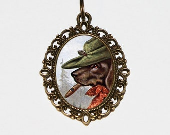 Smoking Dachshund, Dog Necklace, Animal, Cigar Jewelry, Oval Pendant