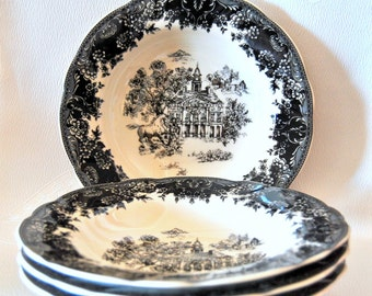 SALE Staffordshire Set 4 Soup Plates, Toile Black, Equestrian, Transferware, Floral, Soup Bowls, Wedding Gifts, Pottery Ceramics