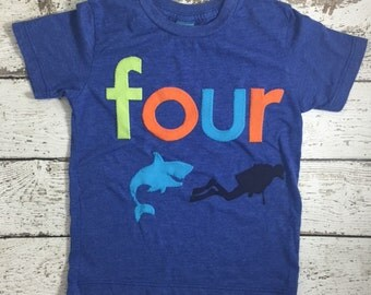Shark Birthday shirt, boy's birthday shirt, shark party, nautical party, scuba diver, Custom colors lime turquoise orange aquarium party