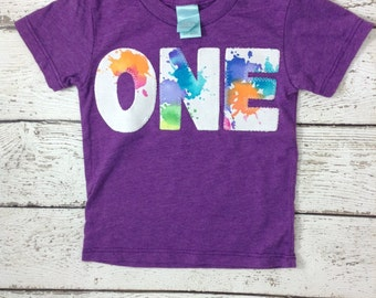 Ready to Ship first birthday shirt , paint splatter, art party, birthday shirt, girl's birthday shirt, first birthday gift, purple