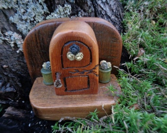 Reclaimed Barn Wood Hand Carved Fairy Door for Garden or Home