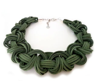 Leather Knot Necklace, Leather Suede Necklace, Leather Bib Necklace, Leather Statement Necklace