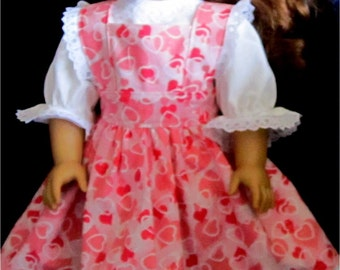 "Doll Clothes - Sparkly Pink Heart Print Pinafore with White Peasant  Blouse and Headband fits American Girl or Similar 18"" Doll"