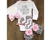 Brand Sparkling New Outfit Silver Glitter Bodysuit, Chevron Legwarmer & Beanie Newborn Take Home Outfit, Silver Sparkle and Pink Baby Outfit