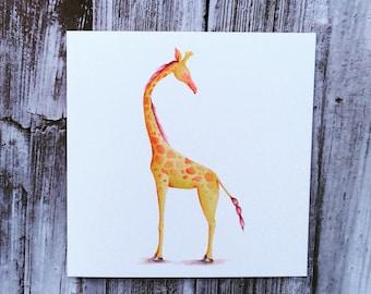 Watercolour Giraffe Blank Greeting Card