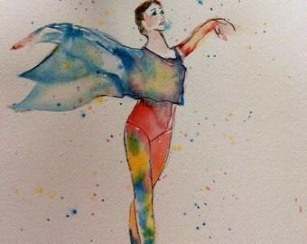 Watercolor Dancer Print, Fifth Position, First Position, Dancer Art