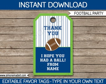 Football Favor Tags - Thank You Tags - Birthday Party Favors - Blue and Green - INSTANT DOWNLOAD with EDITABLE text - you personalize