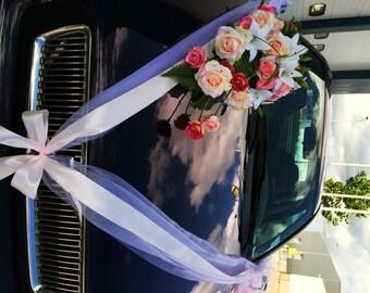 Layered Ribbons Wedding Car Decoration