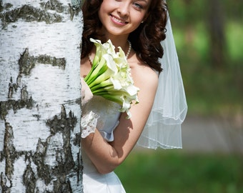 Cascade Shoulder Bridal Veil Beaded Edge Model Alison