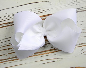 White Boutique Hair Bow - Extra Large White Hair Bow - Extra Large Boutique Bow - Extra Large White Bow