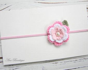 Baby Flower Headband - Baby Pink Flower Headband - Pink Flower Headband - Crochet Flower Headband - Baby Pink Headband