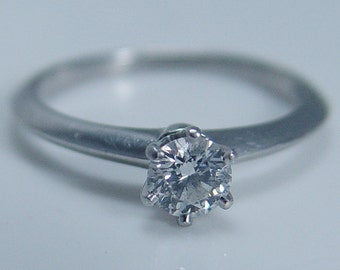 Tiffany Co Platinum .36ct Solitaire Engagement Ring Tiffany & Co VVS1-G