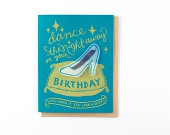 Cinderella Bday card - screen print birthday card