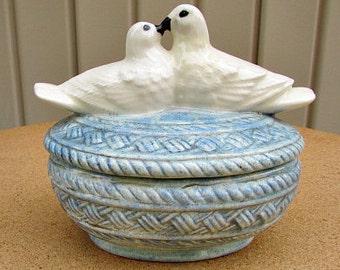 vintage 80s ceramic white doves kissing love birds covered dish hand made