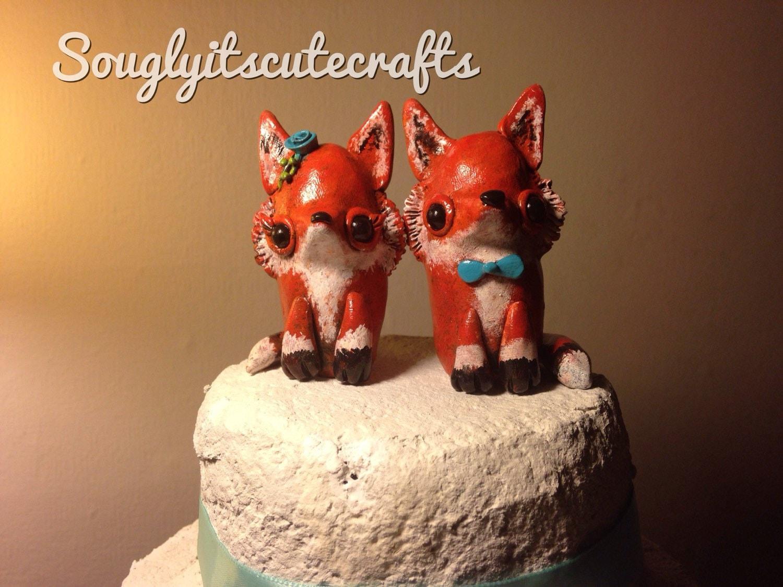 Cute Fox Wedding Cake Toppers Animal Clay figurines