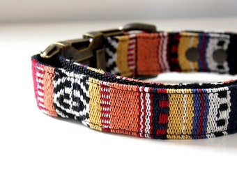 Mexican woven Dog Collar -B- orange - Antique Brass