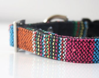 Mexican woven Dog Collar - black, pink, orange, blue