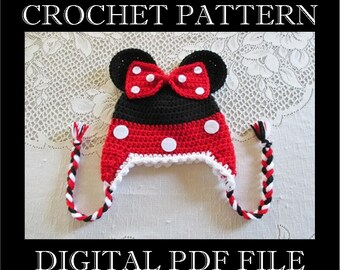 PDF PATTERN - Minnie Mouse Inspired Crochet Hat Pattern