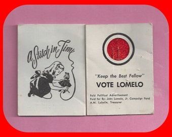 A Stitch in Time Political Advertising Needle Case Envelope Vote Lomelo
