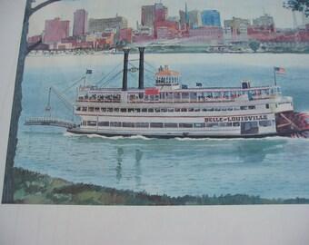 Vintage 1963 Watercolor by Robert Wathen ~ Belle of Louisville Steam Boat on Ohio River