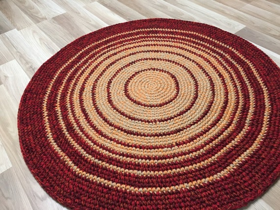 39'' in diameter, READY to SHIP, Crochet  Wool Rug in a beautiful two color combo