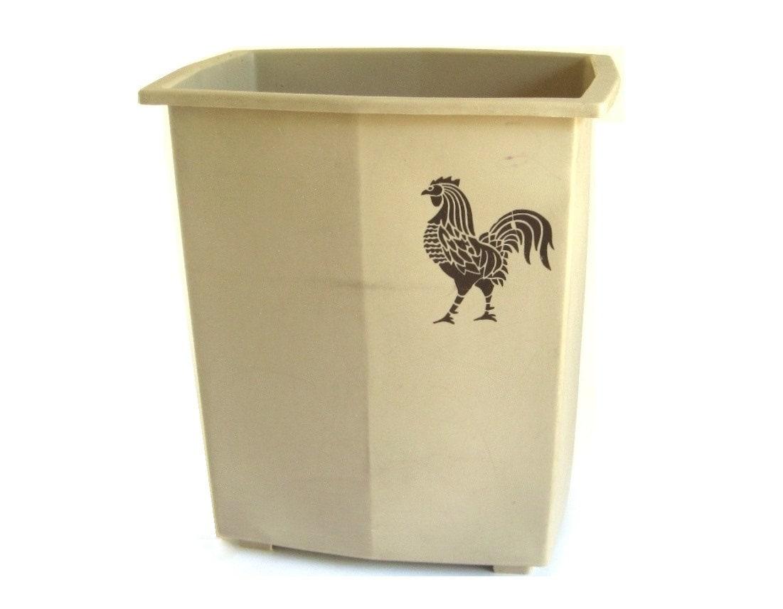 plastic kitchen trash can waste basket 1980s beige brown. Black Bedroom Furniture Sets. Home Design Ideas