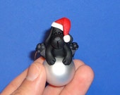Polymer Clay Black Lab Dog on Glass Ornament