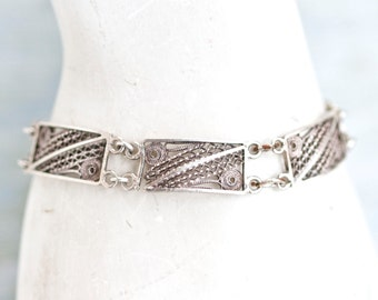 Dark Silver Bracelet of Filigree Links - Antique Jewelry
