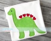 Valentine Dinosaur Applique Design Machine Embroidery INSTANT DOWNLOAD