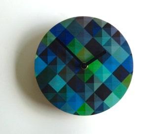 "Objectify ""Grid2"" Blue Wall Clock"